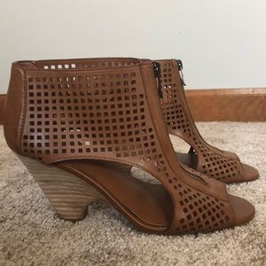 Front zip open toe bootie/sandals!